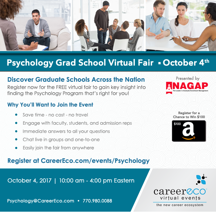 Flier for Psychology Grad School Virtual Fair on October 4, 2017 from 10AM to 4PM Eastern.
