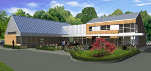 Artist's rendering of the new building- brown brick building with silver metal roof. Surrounded by driveway and plantings.