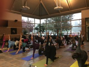 Yoga class in the atrium.