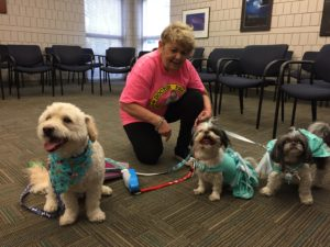 Doctor Paws human facilitator with therapy dogs.