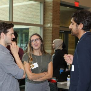 Students talking at orientation 2018