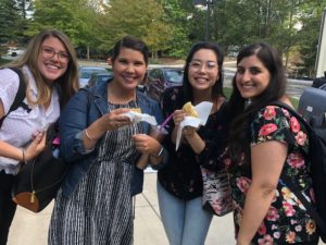Four new MA students during Welcome Week.