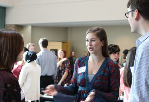Students talking at orientation.