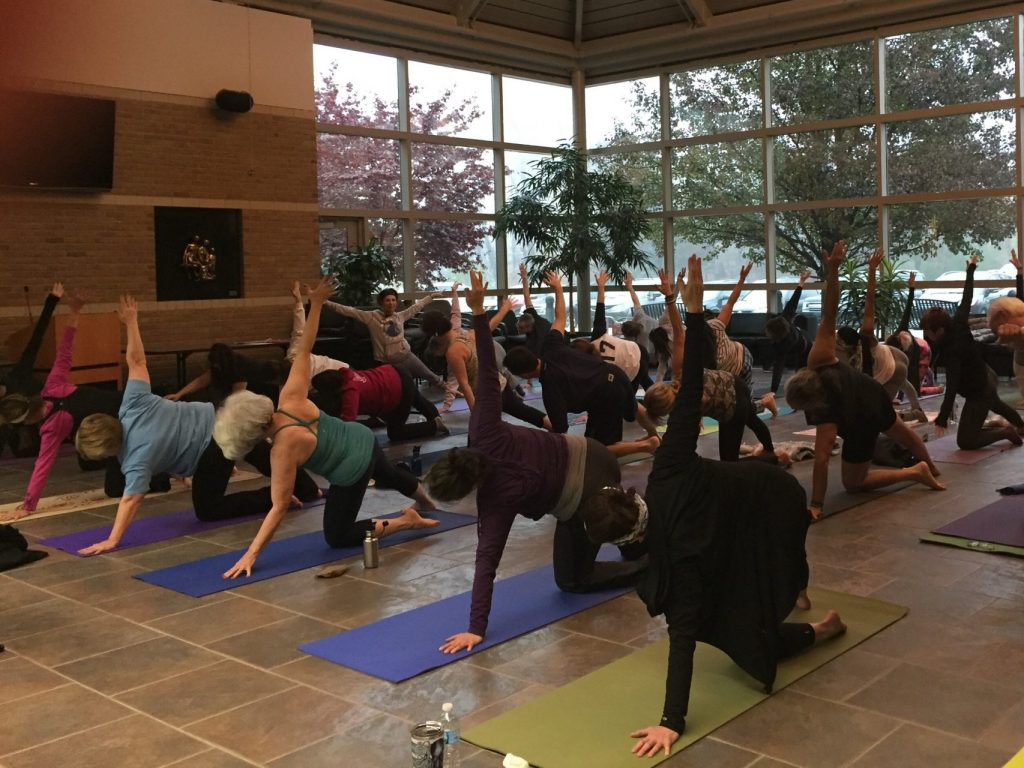 Image of people doing yoga in Atrium.