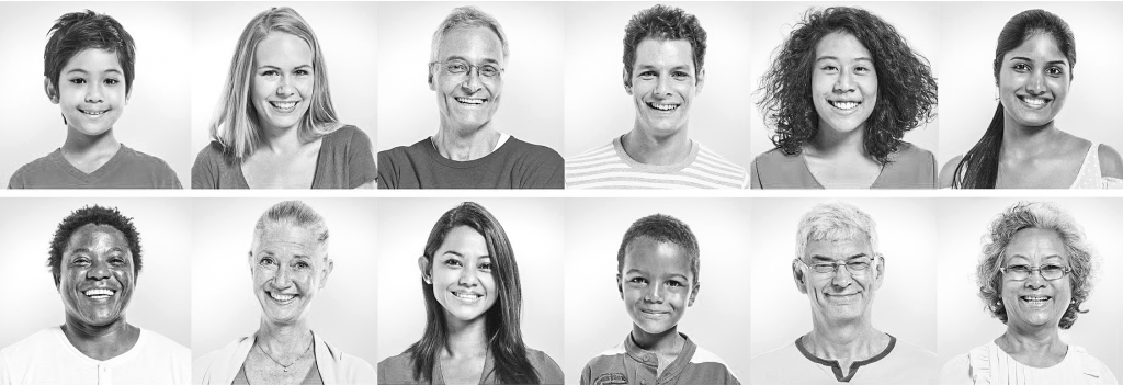 Photo strips of portraits of various people of different ages, genders, and races/ethinicities.