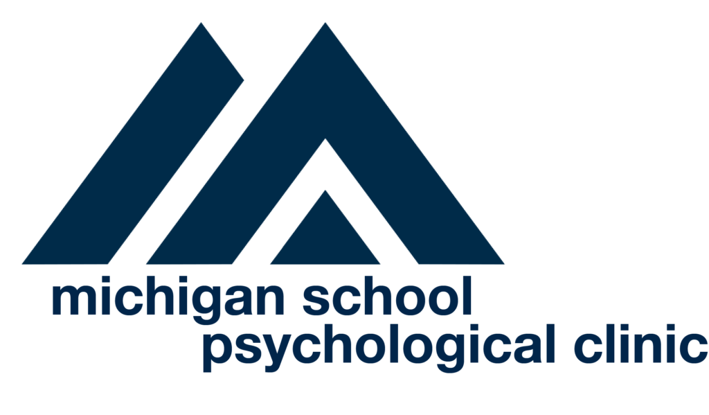 Logo for Michigan School Psychological Clinic [image of two blue traingles]