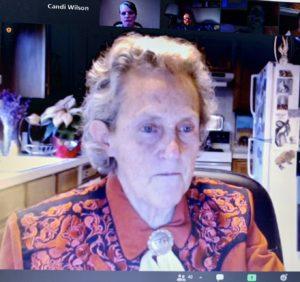 Screenshot of Temple Gradin on Zoom presentation.