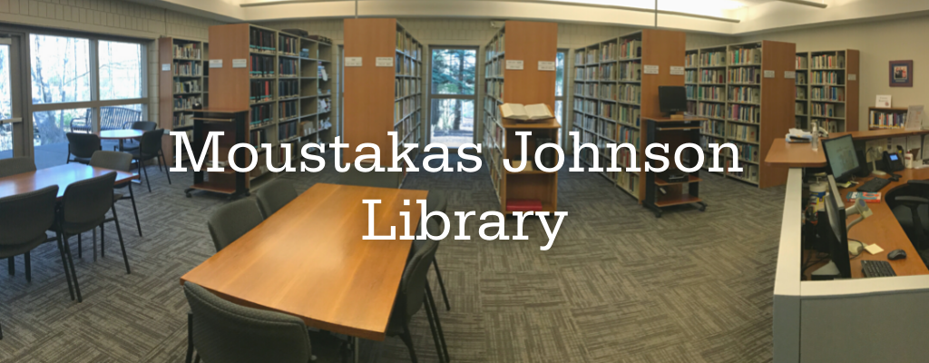 Photo of Moustakas Johnson Library with the text
